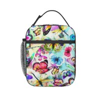 Butterfly, Dragonfly & Floral Lunch Bag for Women/Men/Adult,Very suitable for work and on the go Reusable Large Lunch Box,11x21x26cm,Polyester.