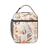 Earth Tone Floral Summer Peach Apricot Lunch Bag for Women/Men/Adult,Very suitable for carry food Reusable Large Lunch Box,11x21x26cm,Polyester.
