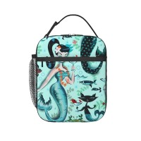 Martini Mermaids Lunch Bag for Women/Men/Adult,Very suitable for carry food Reusable Large Lunch Box,11x21x26cm,Polyester.