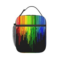 Rainbow Paint Drops On Black Lunch Bag for Women/Men/Adult,Very suitable for lunch to school Reusable Large Lunch Box,11x21x26cm,Polyester.