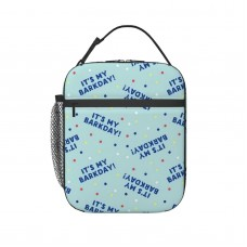 (small Scale) It's My Barkday! Blue On Blue C20BS Lunch Bag for Women/Men/Adult,Very suitable for snacks Reusable Large Lunch Box,11x21x26cm,Polyester.