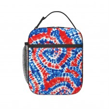 (small Scale) Red White And Blue Tie Dye LAD19BS Lunch Bag for Women/Men/Adult,Very suitable for work and on the go Reusable Large Lunch Box,11x21x26cm,Polyester.