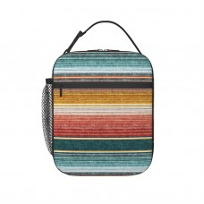 (small Scale) Serape Southwest Stripes Teal LAD19 Lunch Bag for Women/Men/Adult,Very suitable for carry food Reusable Large Lunch Box,11x21x26cm,Polyester.