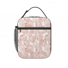 (small Scale) Watercolor Monstera Leaf Dusty Pink Lunch Bag for Women/Men/Adult,Very suitable for office Reusable Large Lunch Box,11x21x26cm,Polyester.