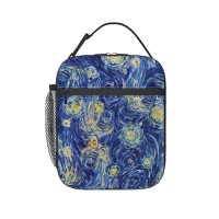 Starry Night Inspired Lunch Bag for Women/Men/Adult,Very suitable for carry food Reusable Large Lunch Box,11x21x26cm,Polyester.